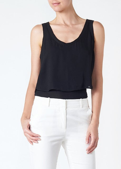 Veronica Beard austin raw edge silk tank black