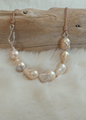 Designs by Alina 7 champagne pearls on leather necklace