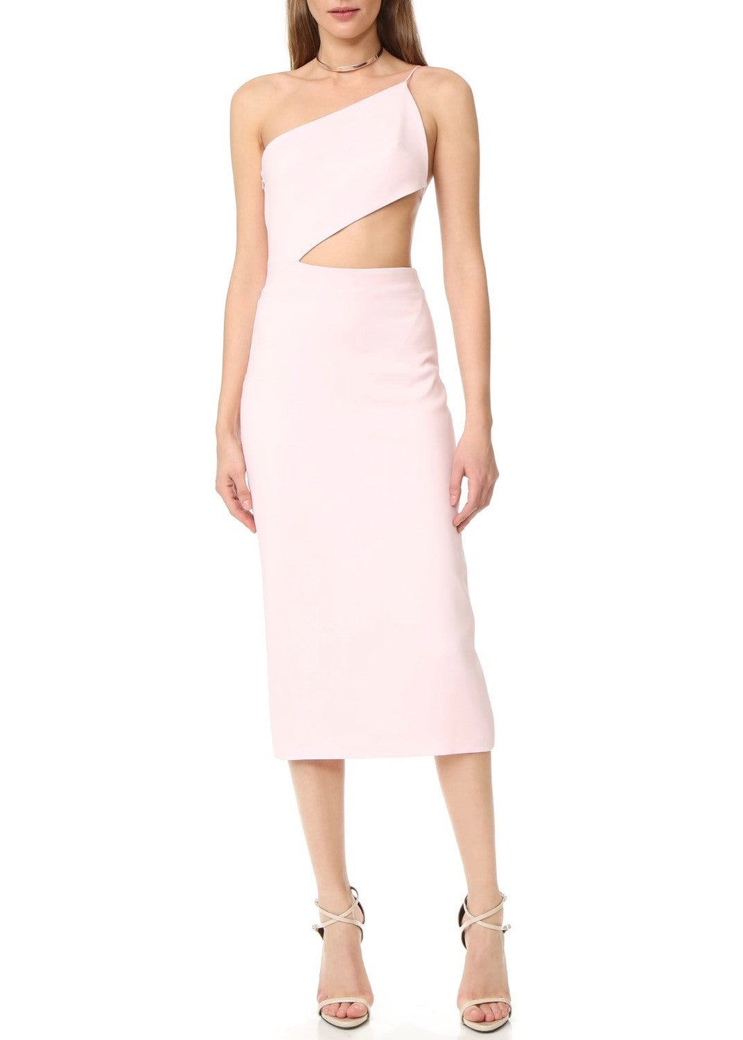 Cushnie et Ochs asymmetric  dress with open back light pink