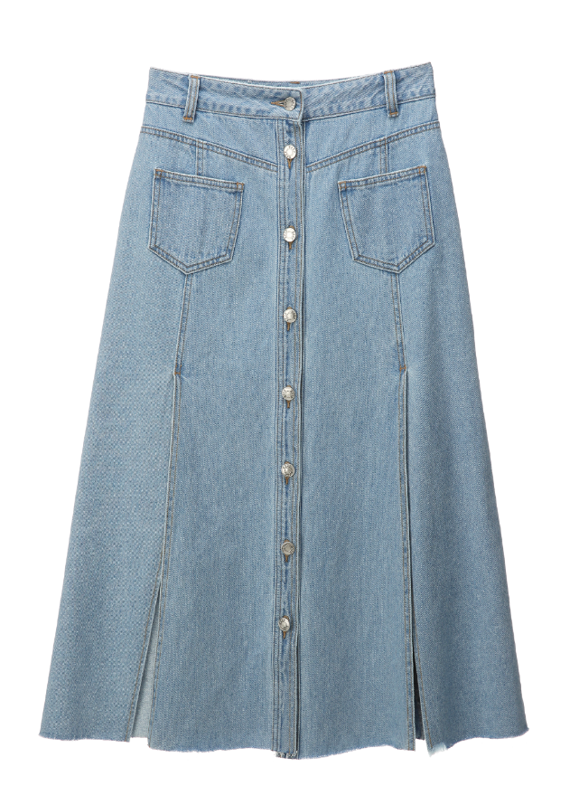 SJYP BUTTON FRONT DENIM LONG SKIRT light blue