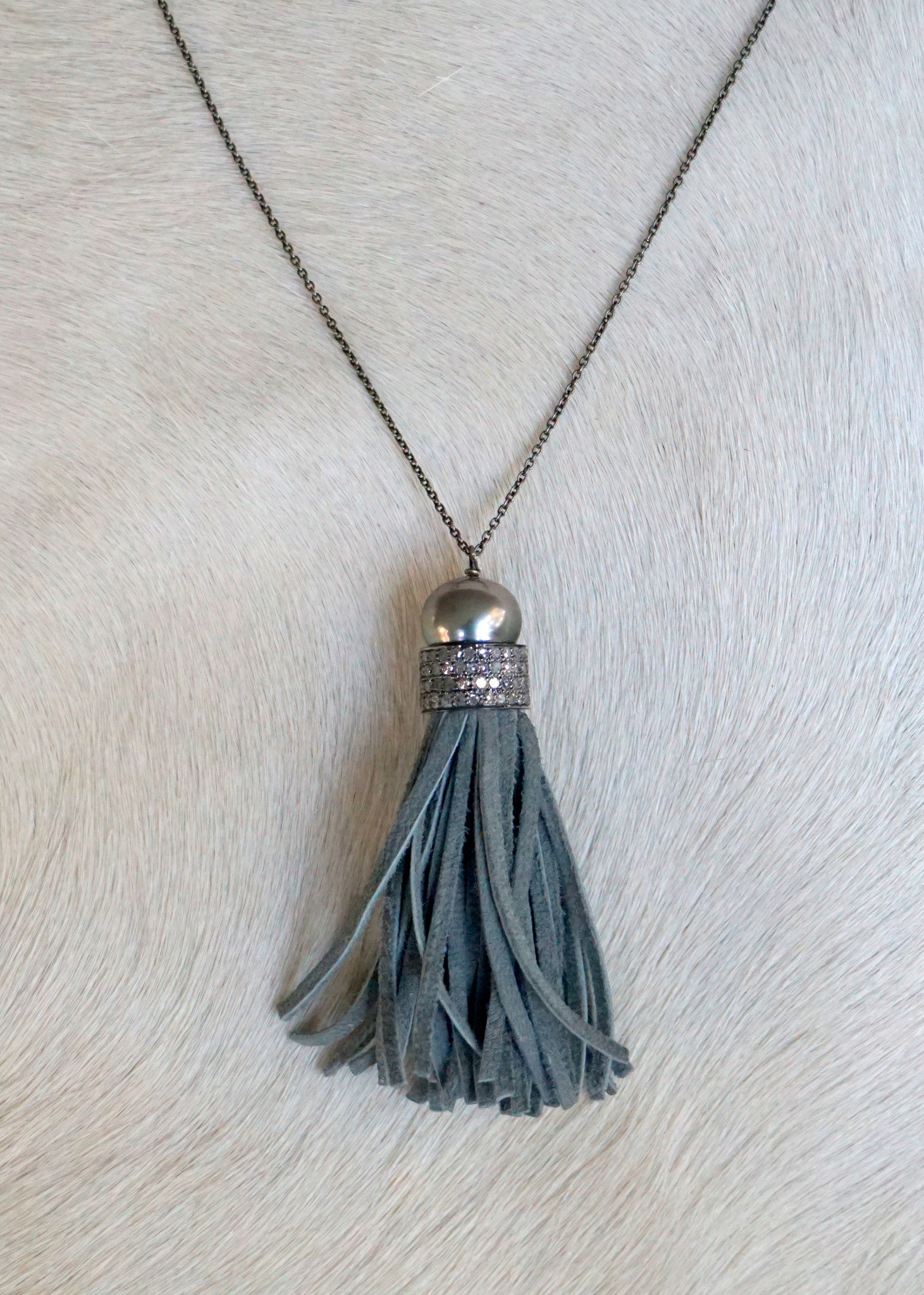 Designs by Alina diamonds on the fringe adjustable necklace
