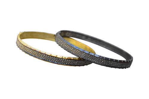 S Carter Designs hammered 3-row pave diamond bangle