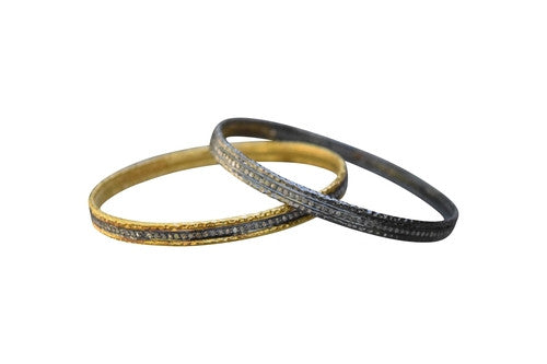 S Carter Designs hammered 1-row pave diamond bangle