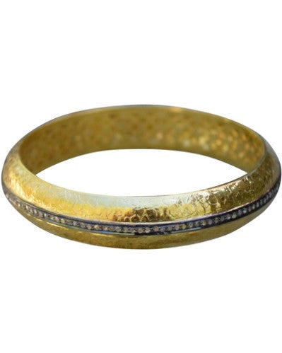 S. Carter Designs hammered thick gold bangle with 1-row pave diamond