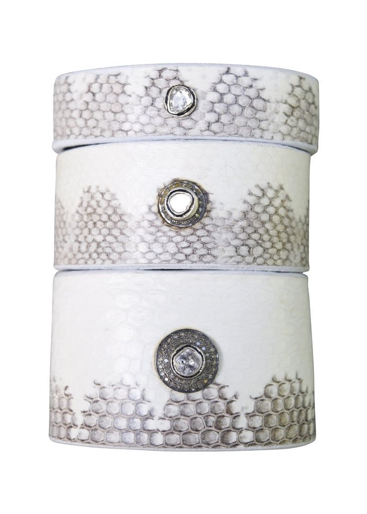 S. Carter Designs thick sea snake cuff with embedded rosecut and 2-row pave diamond button