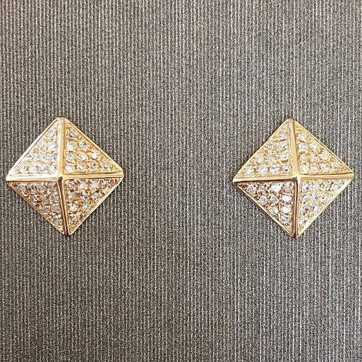 Rocks with Soul Diamond Pyramid Stud Earrings