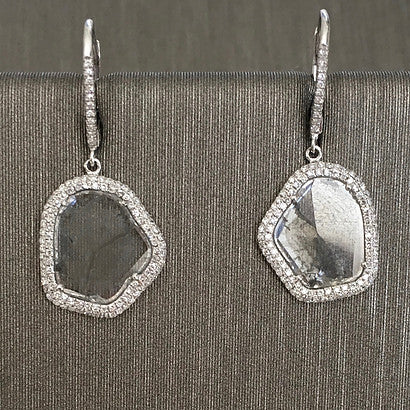 Rocks With Soul Diamond Slice Drop Earrings