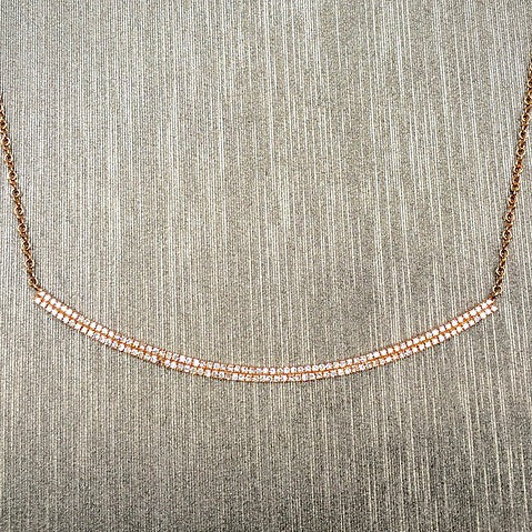 Rocks with Soul Double Bar Diamond Crescent Necklace