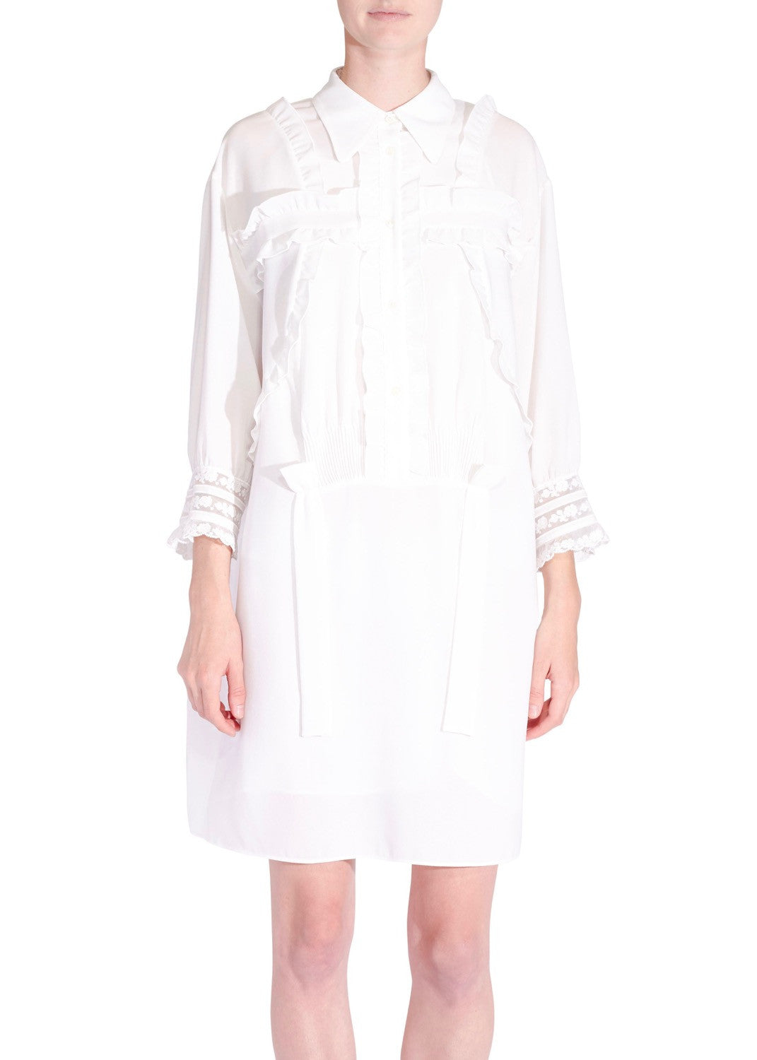 No.21 ruffle shirt dress white