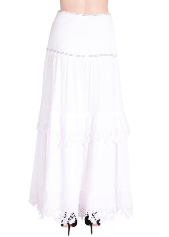 Flannel long tiered skirt with trim white