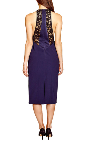 Galvan lace high neck cocktail dress midnight