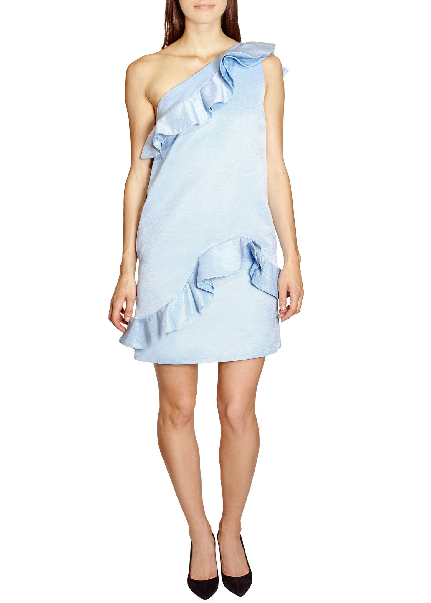MSGM one shoulder ruffle dress light blue