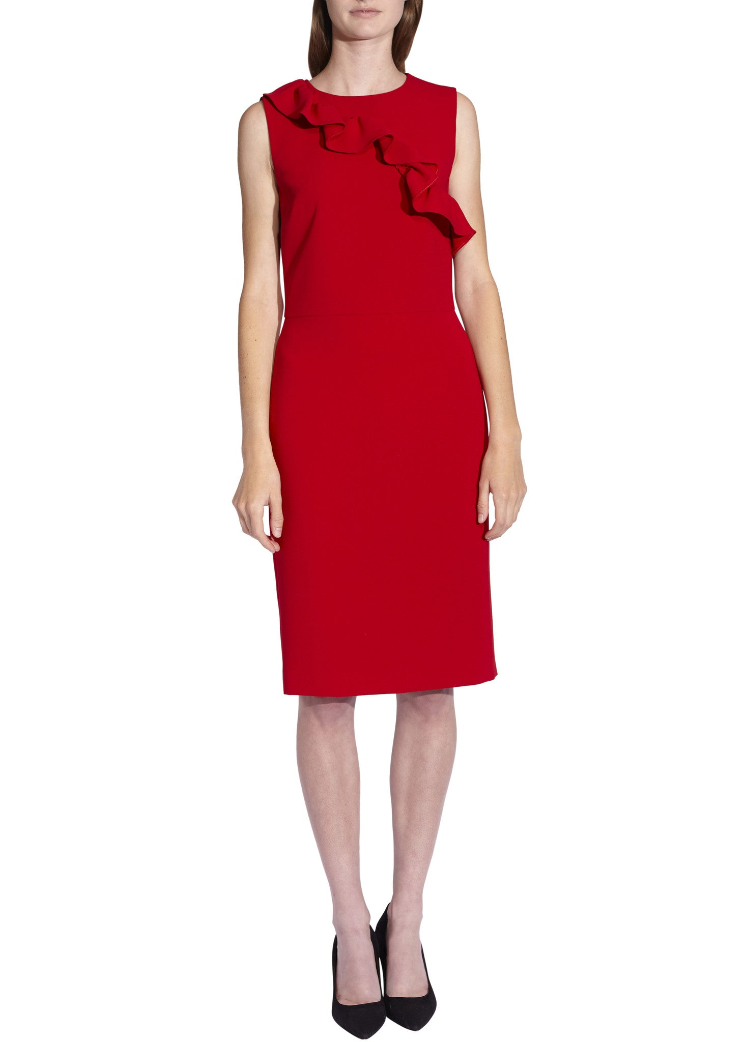 Moschino Boutique ruffle front dress red