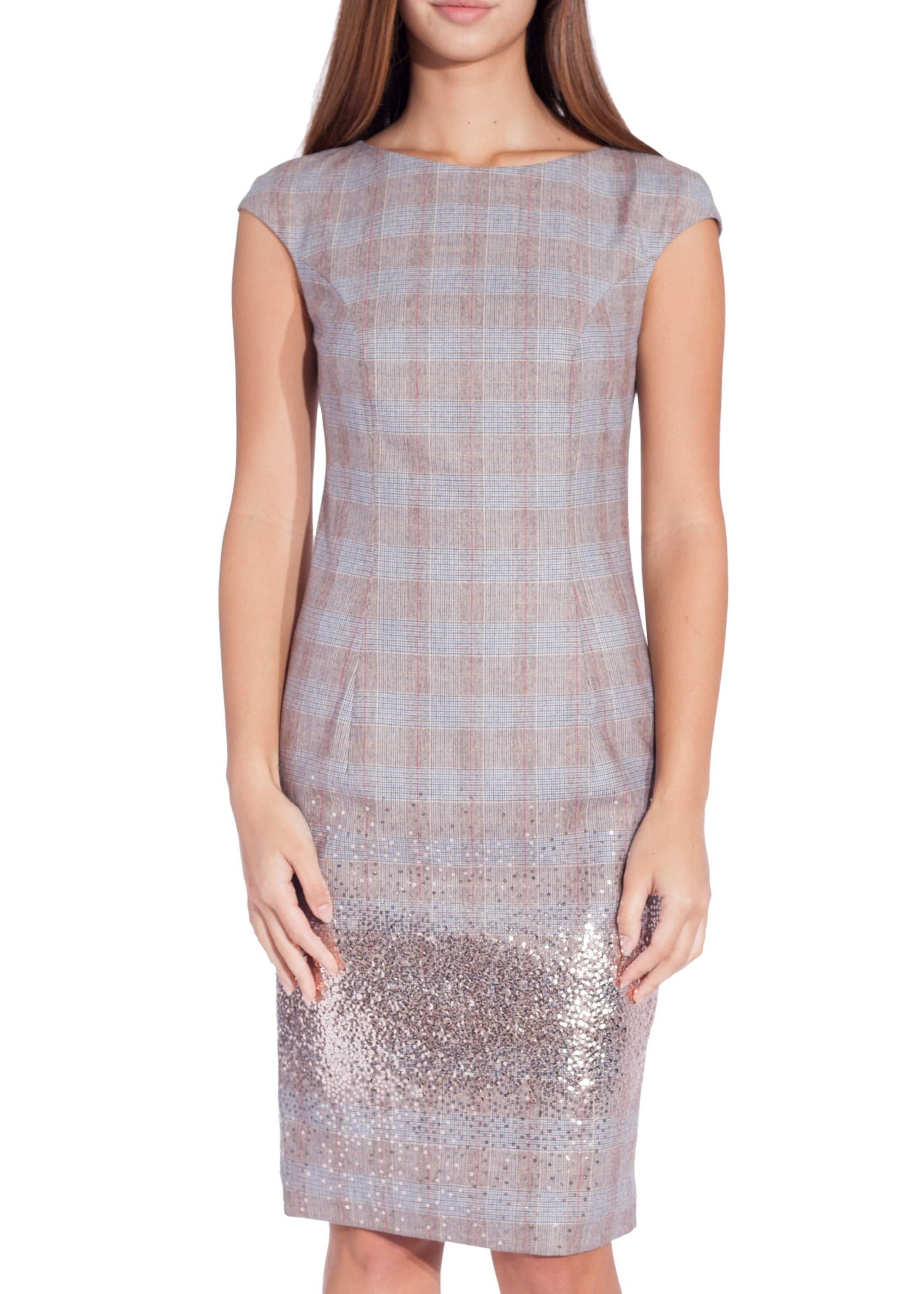 Blumarine sleeveless herringbone dress with sequins