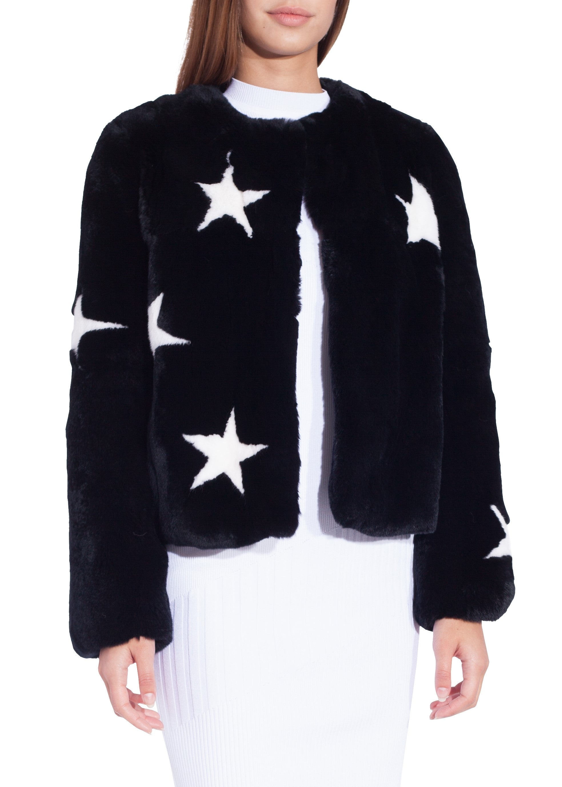 Yves Salomon Meteo rex fur jacket black with white stars