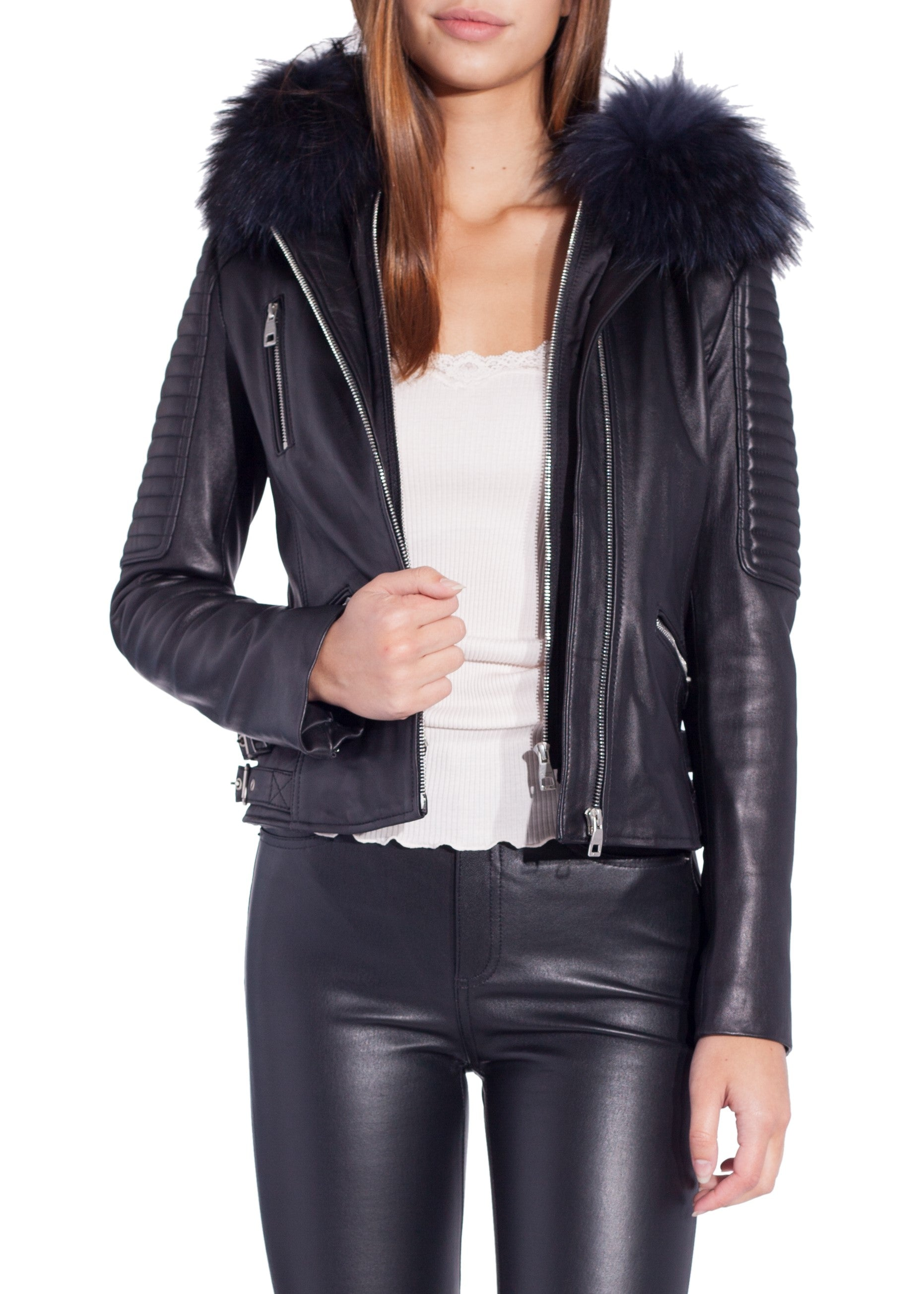 Intuition arly leather jacket with fur hood black