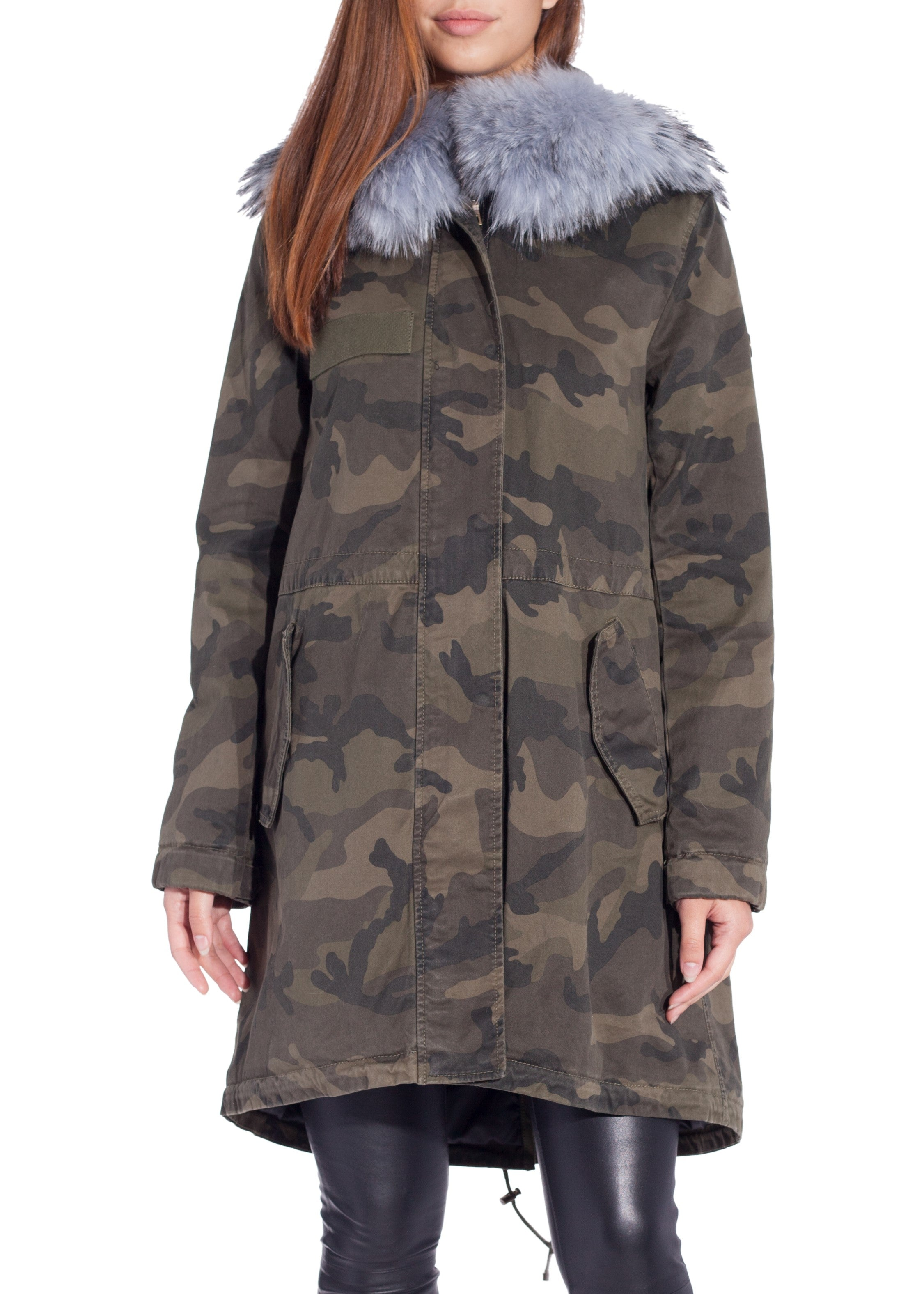 Blonde No. 8 albi camo coat with fur hood