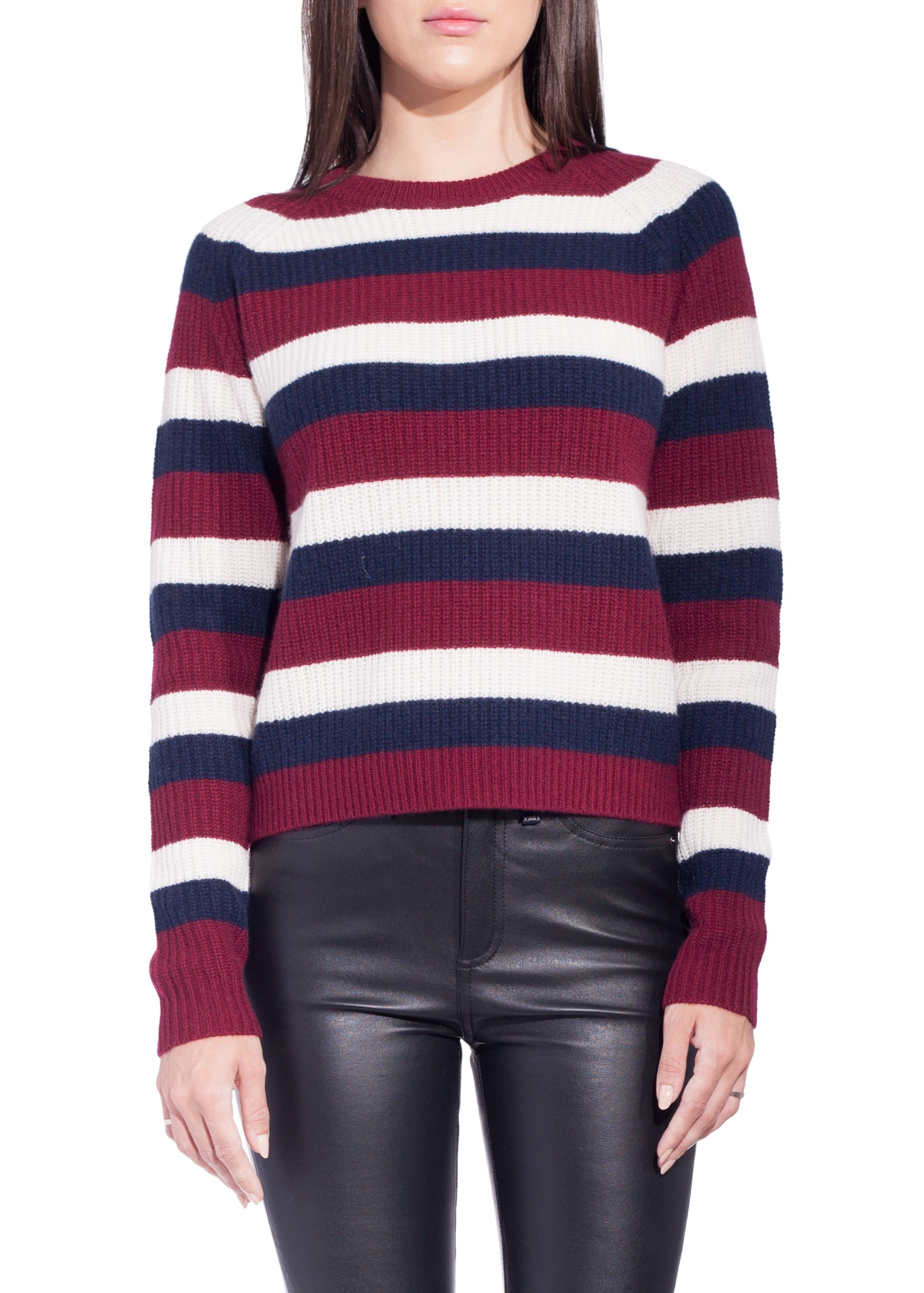 Kule royce stripe sweater navy cream wine