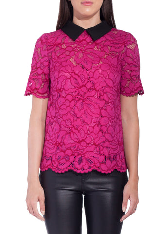Tara Jarmon lace top with collar fuchsia