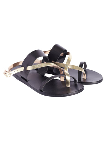 Ancient Greek Sandals aletha sandal black platinum
