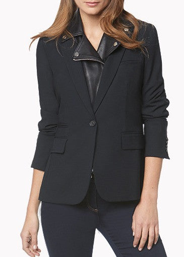 Veronica Beard black classic jacket with black leather biker lapel dickey