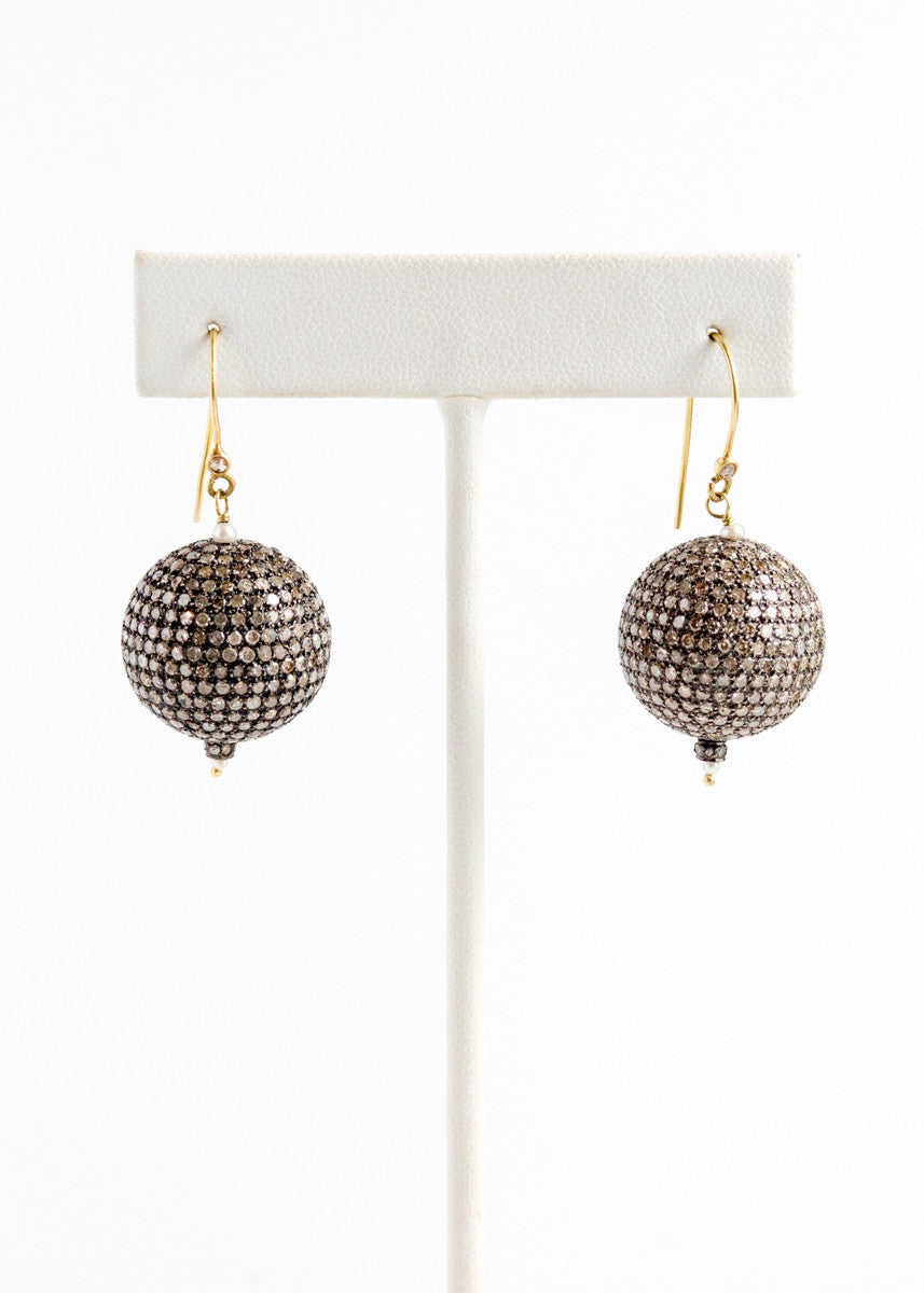 Vinesh small diamond ball earrings