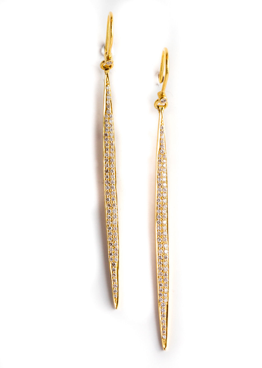 DP diamond long drop earrings 18K yellow gold