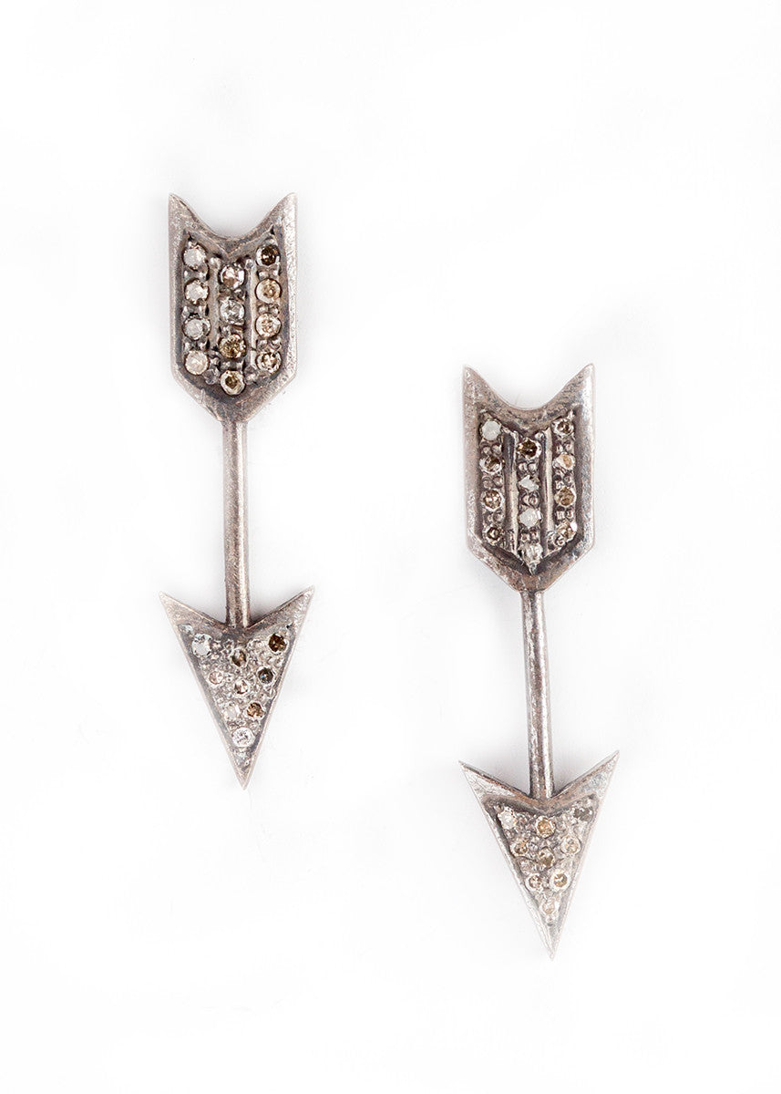 Designs by Alina diamonds on oxidized silver arrow earrings