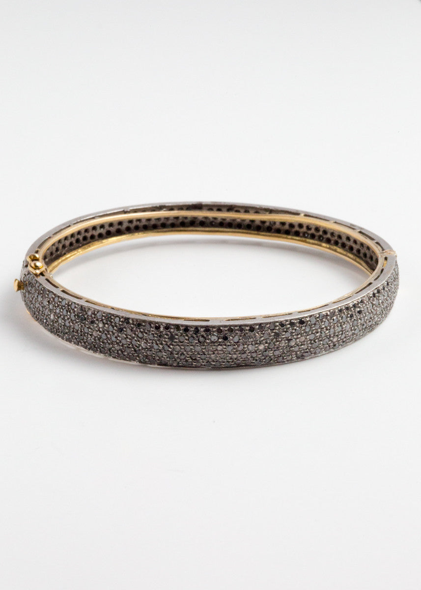 Lera Jewels black pave diamond bangle bracelet