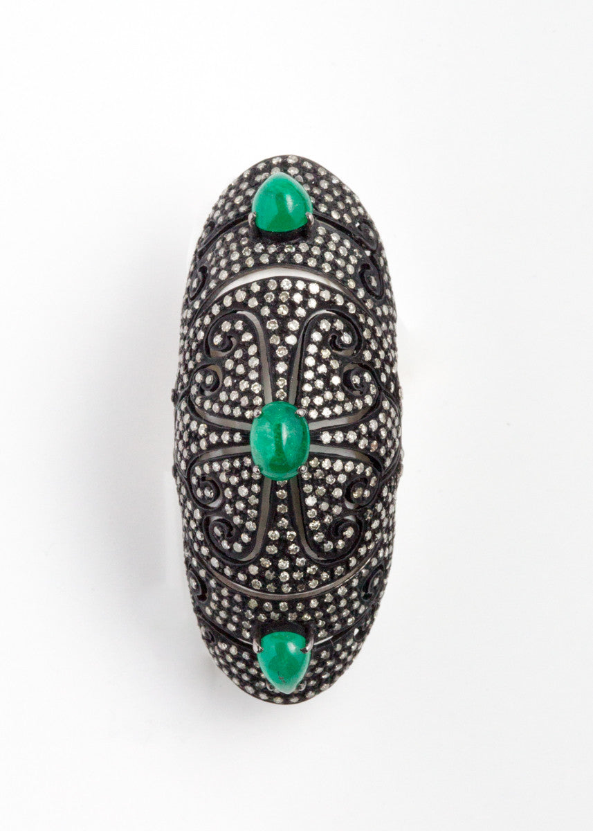 Vinesh diamonds and emerald double hinge ring