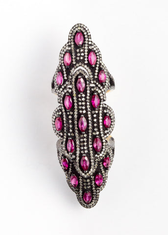 Vinesh diamonds and ruby double hinge ring