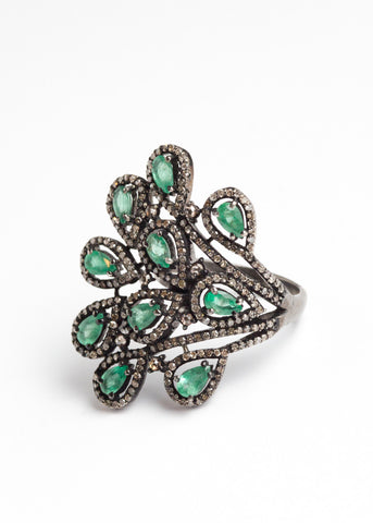 Vinesh diamonds and emerald peacock ring