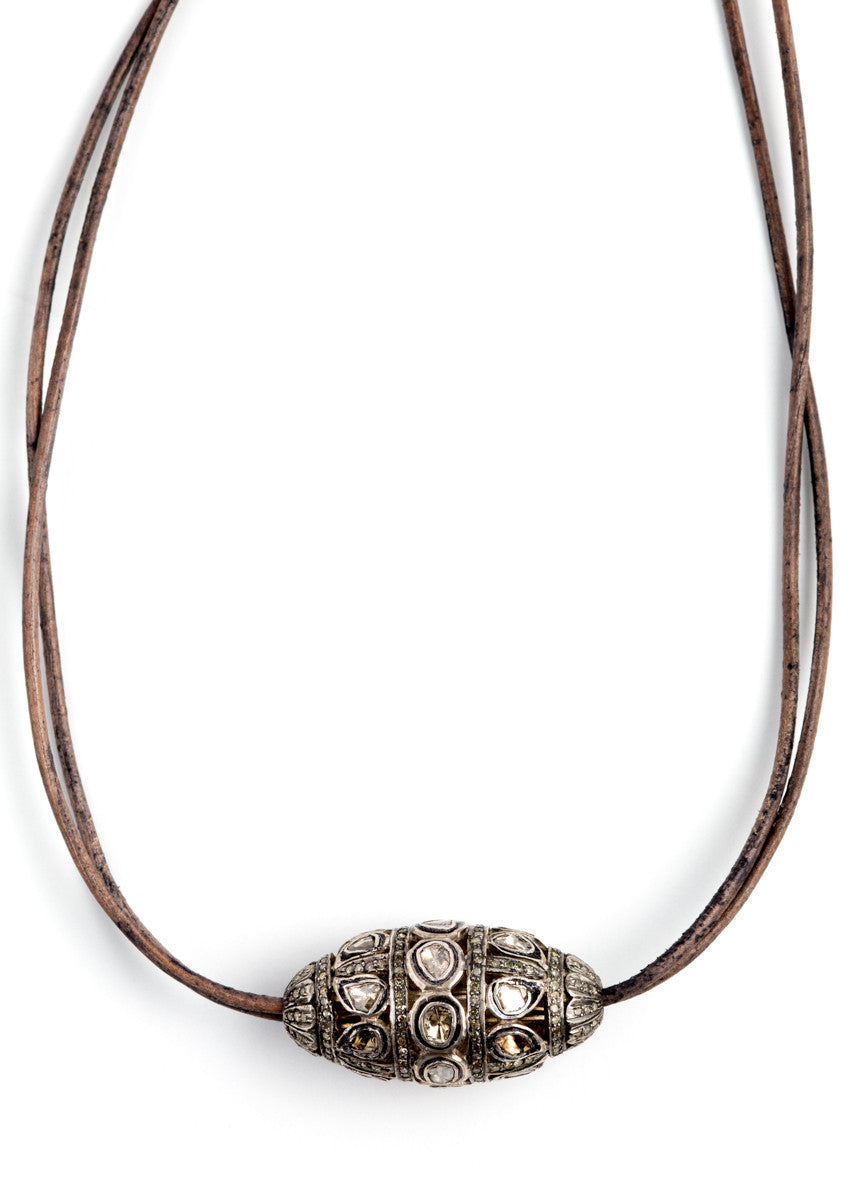 S Carter large rosecut on leather cord necklace
