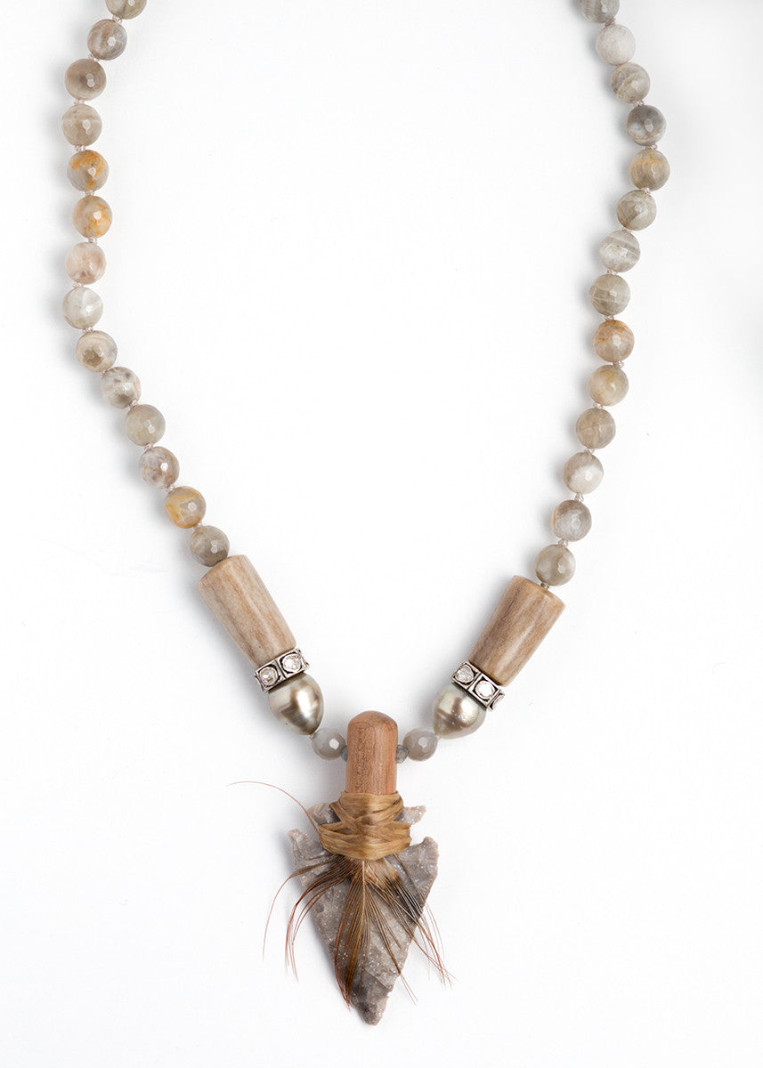 S. Carter wooden dowel wrapped agate arrowhead necklace