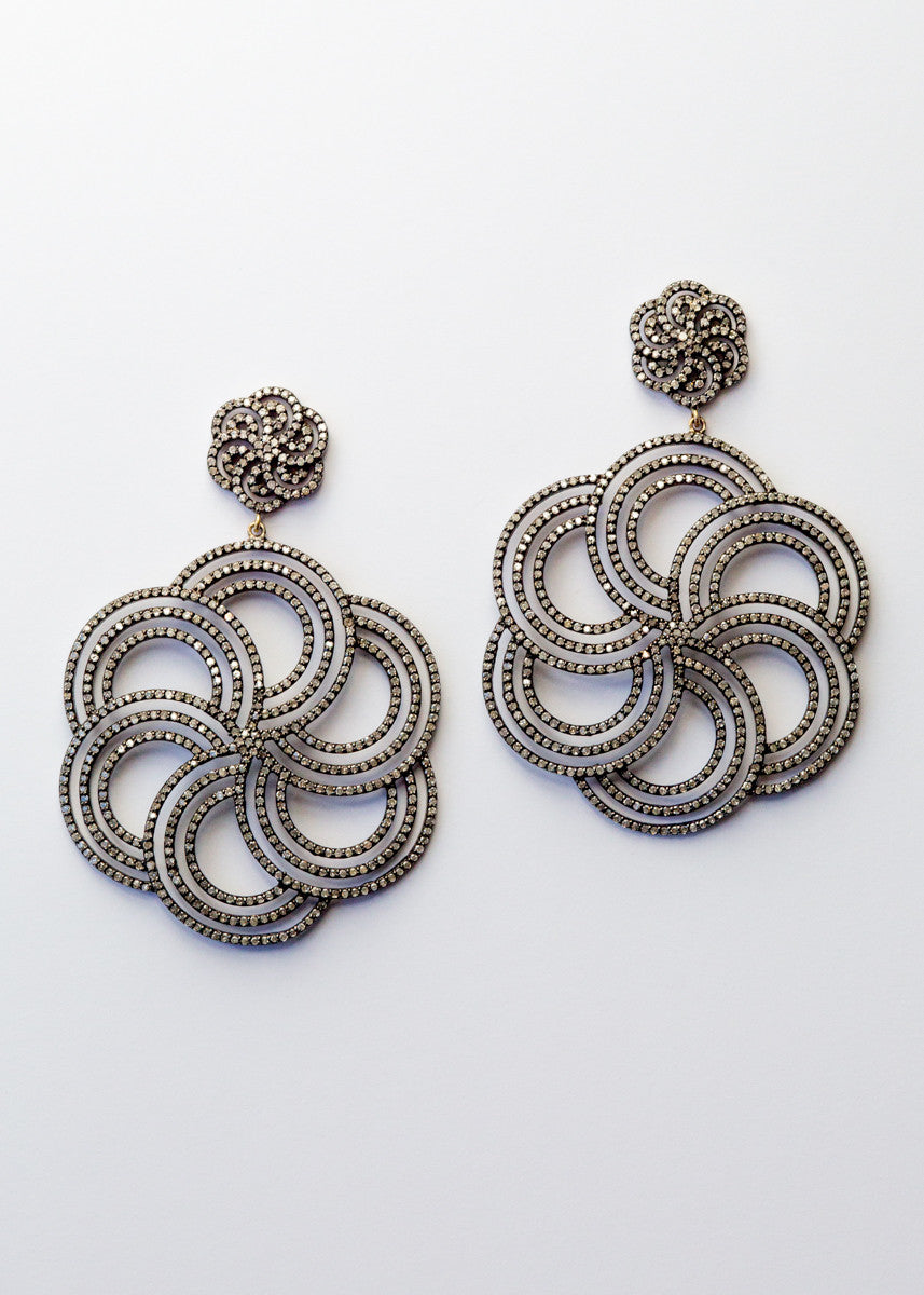 Vinesh large diamond flower earrings
