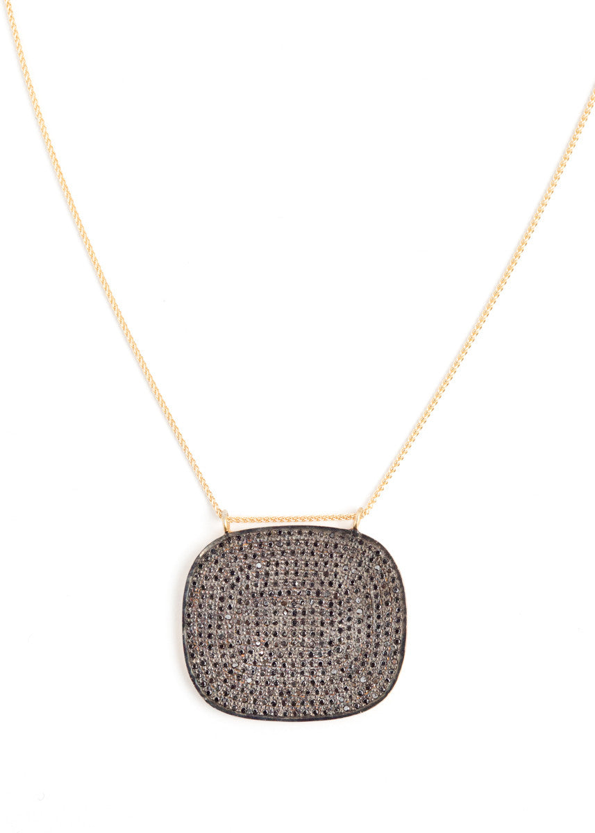 Lera Jewels black diamond square pendant on yellow gold necklace