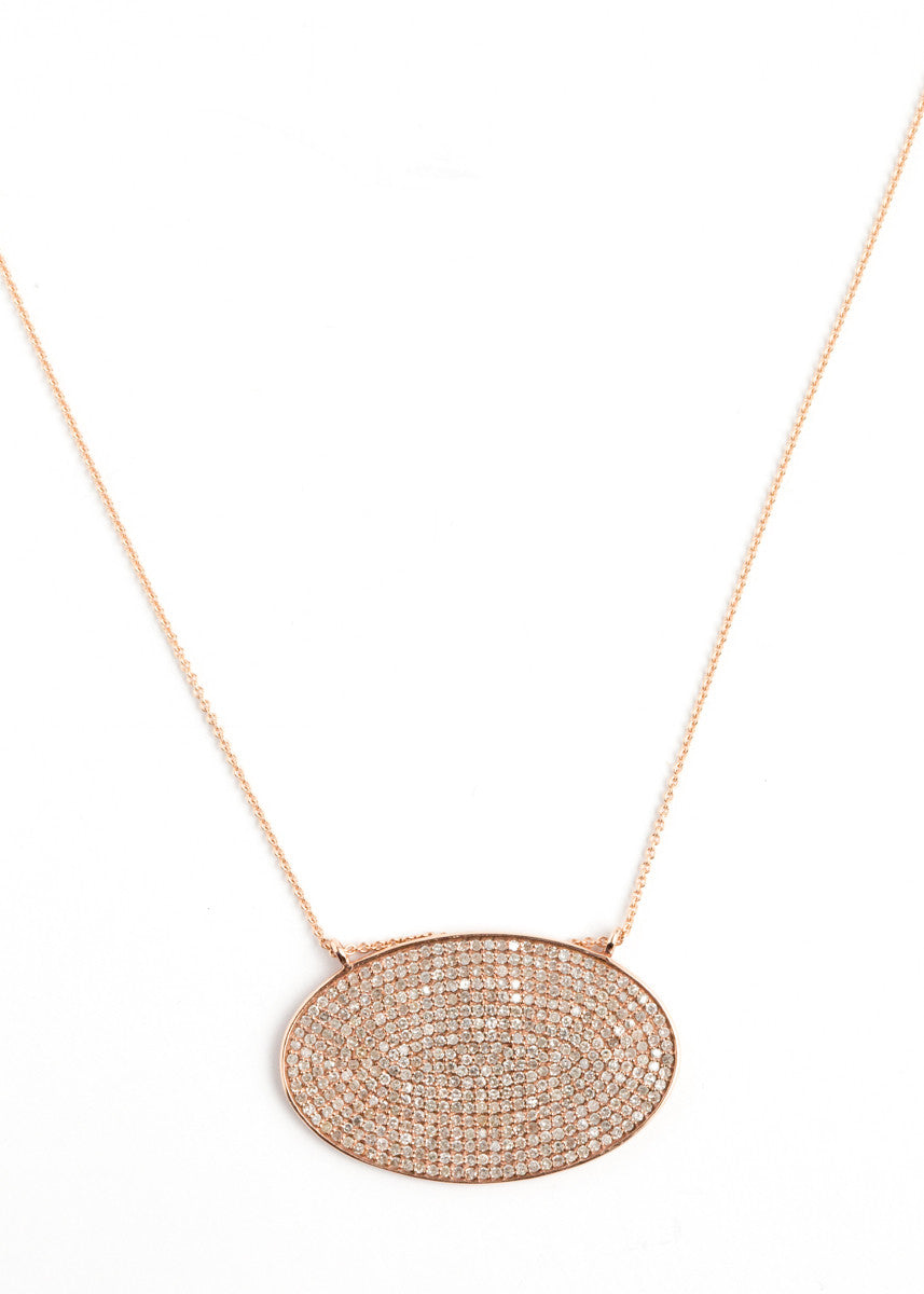 Lera Jewels rose gold oval pendant on rose gold chain