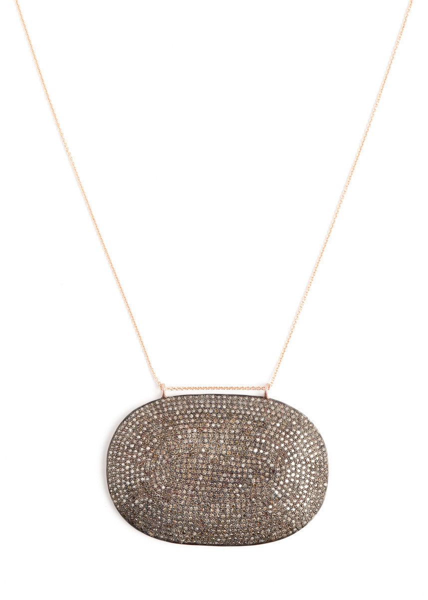 Lera Jewels colossal diamond oval pendant on rose gold necklace