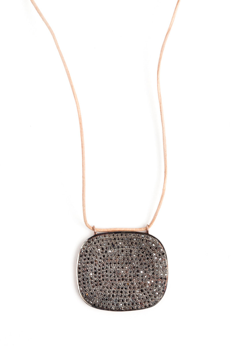 Lera Jewels black diamond square pendant on leather cord necklace