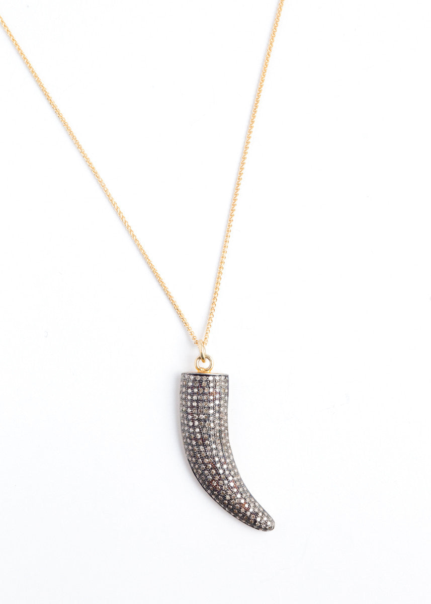 Lera Jewels small horn diamond necklace
