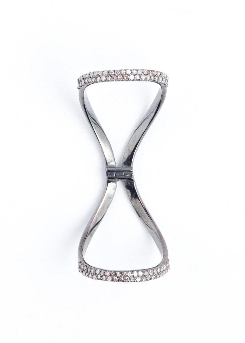 Lera Jewels pave diamond & rhodium silver hinged ring