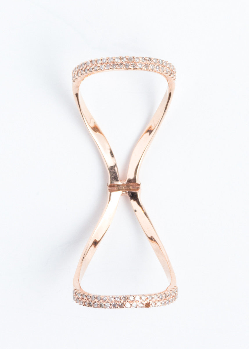 Lera Jewels pave diamond & rose gold hinged ring