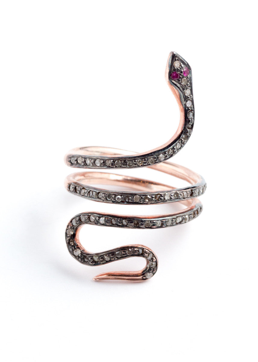 Lera Jewels rose gold & pave diamond snake ring