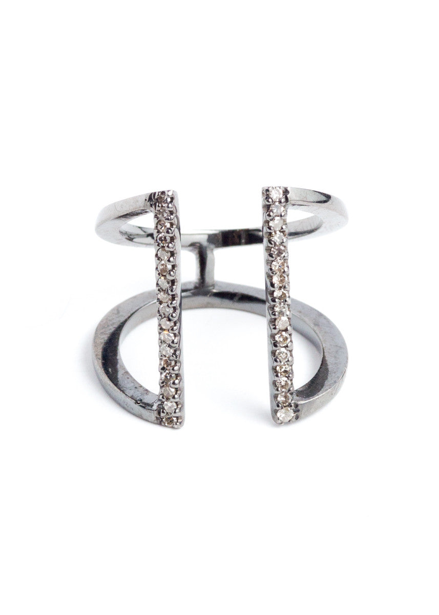 Lera Jewels silver and pave diamond open bar ring
