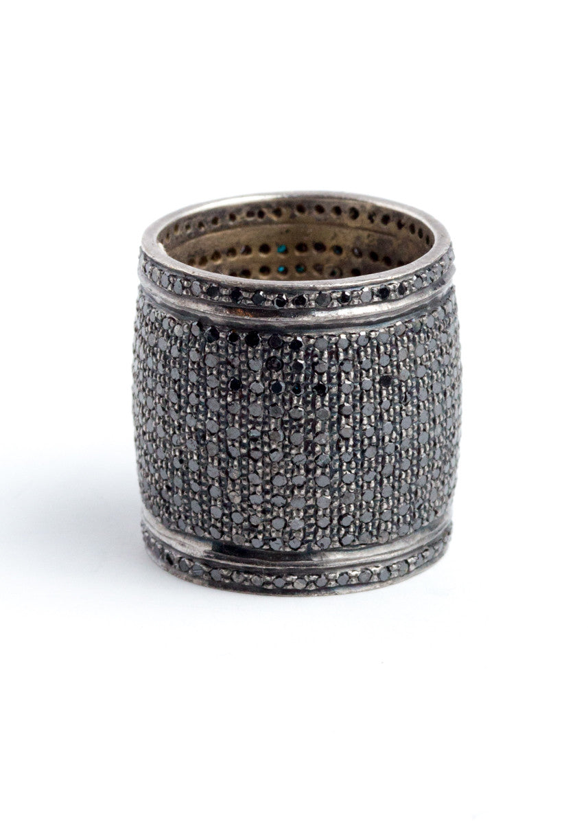 Lera Jewels large black pave diamond & rhodium cigar band