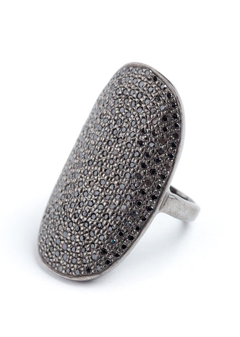 Lera Jewels curved oval black diamond ring