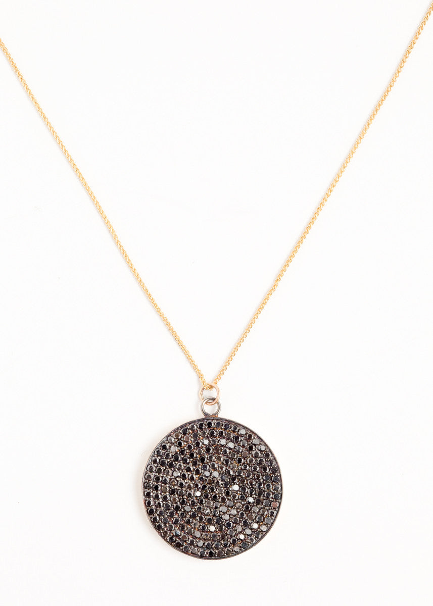 Lera Jewels 30mm black diamond disc on yellow gold necklace