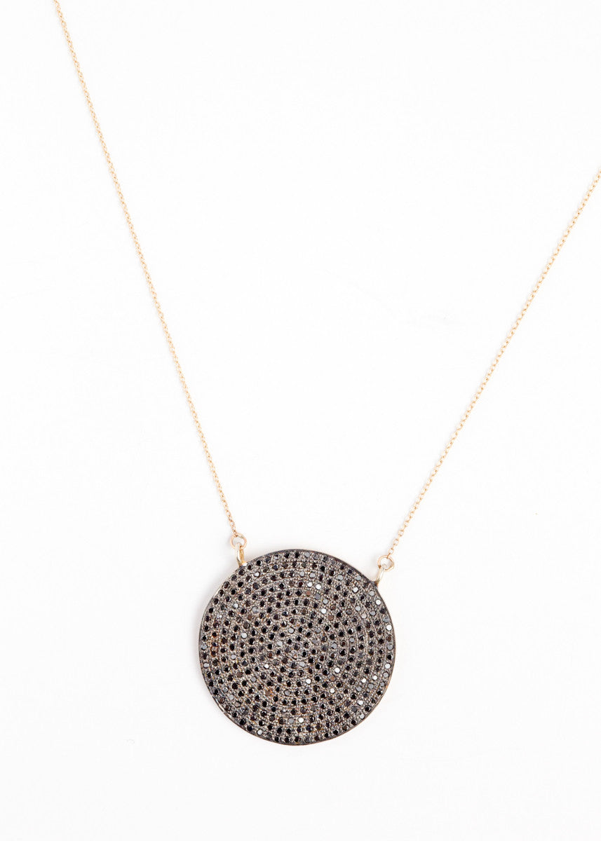 Lera Jewels 34mm black diamond gold plated disc on gold chain necklace