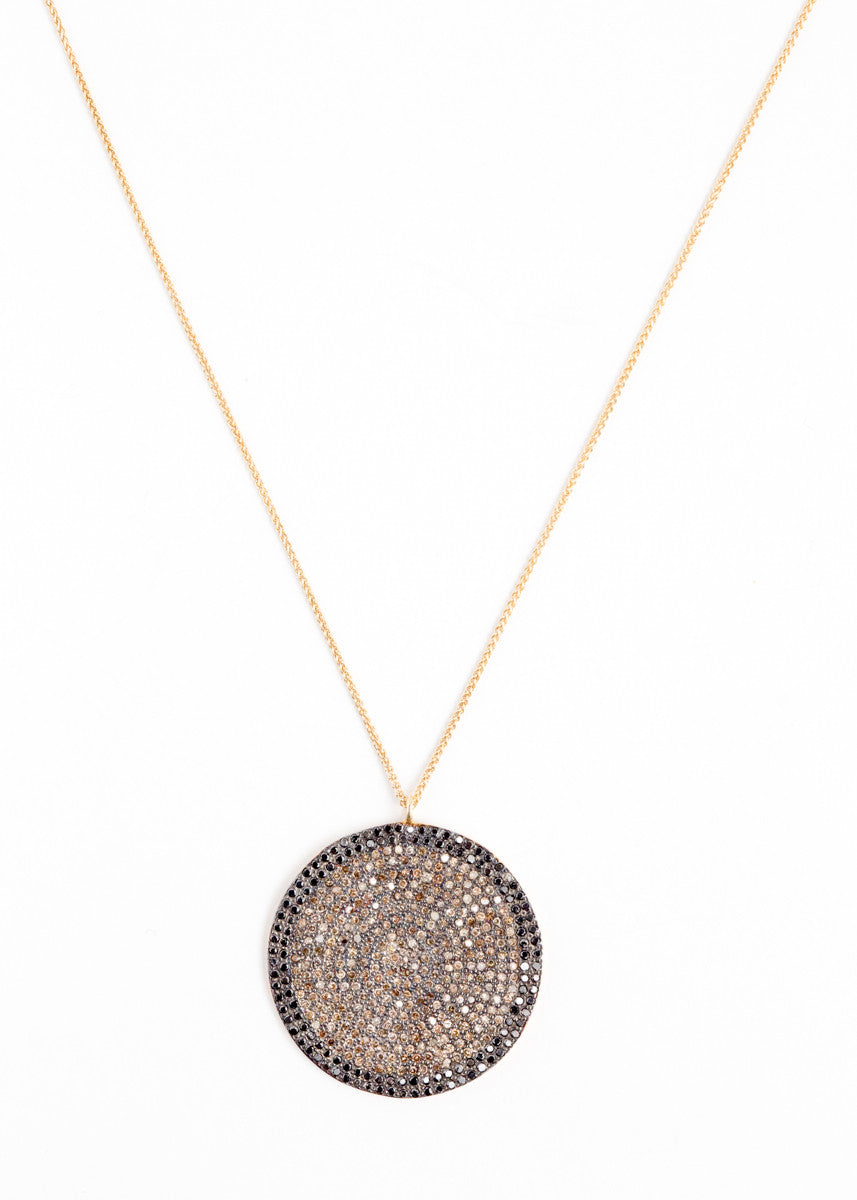 Lera Jewels 34mm white & black diamond disc on yellow gold necklace