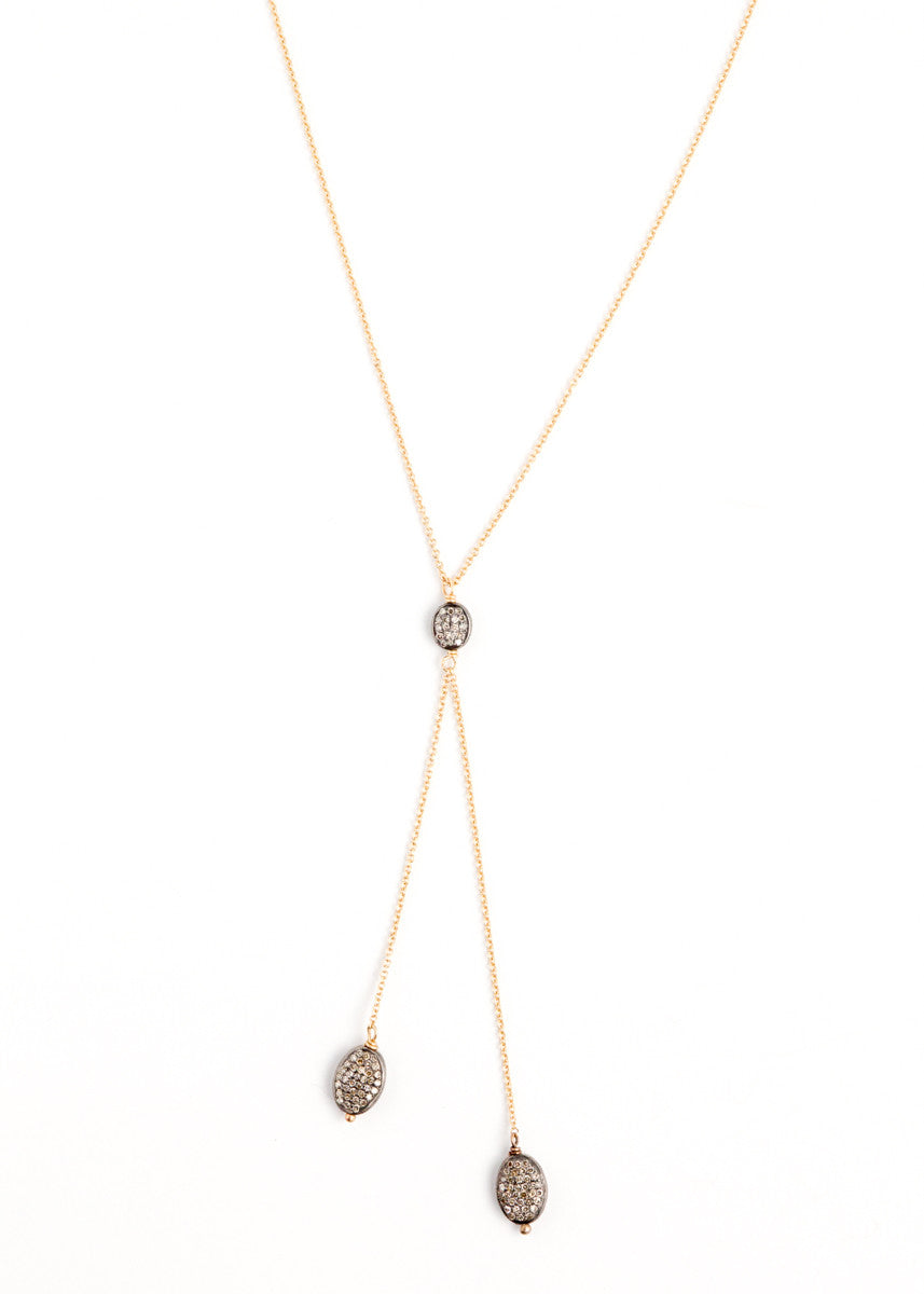 Lera Jewels yellow gold double drop diamond lariat